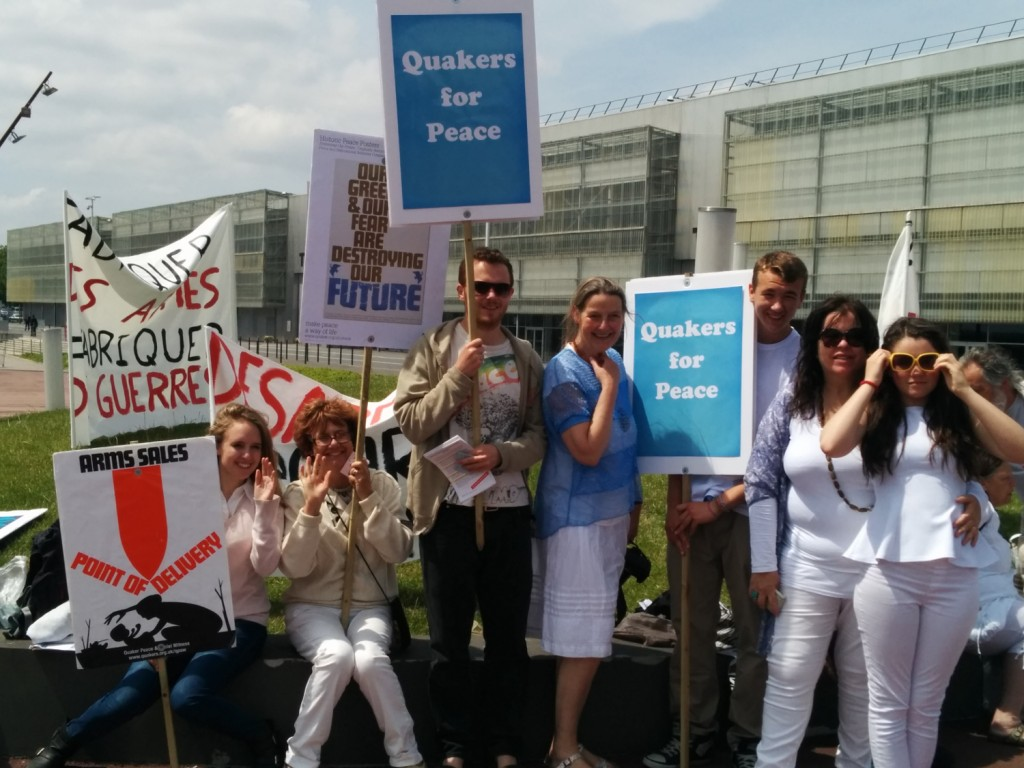 Quakers at the peace vigil, Eurosatory 2014, Photo: Karina Knight